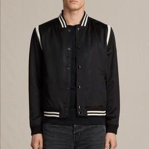 All Saints Matsu Satin Leather Bomber Jacket